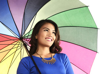 Asian woman holding umbrella smiling