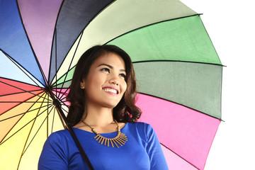 Asian woman holding umbrella smiling