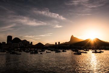 Warm Beautiful Sunset from Urca in Rio de Janeiro