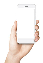 Man hand holding the smartphone isolated on white background