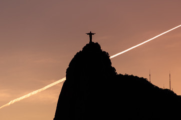 Wall Mural - Silhouette of Corcovado Mountain by Sunset in Rio de Janeiro
