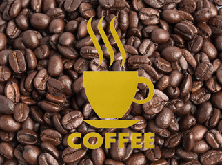 coffee shop sign, on Coffee bean background