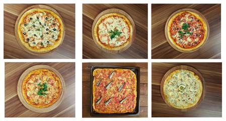 Food set different Pizza