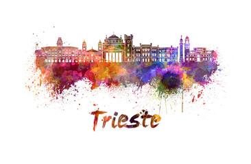 Trieste skyline in watercolor