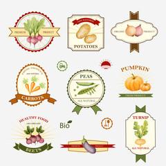 Vegetables, set of label design