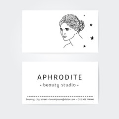 vector design of business cards for beauty salon, hairdressers