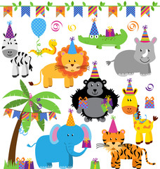 Vector Collection of Birthday Party Animals