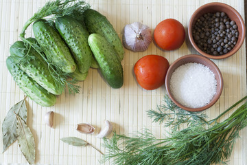 Cucumbers, tomatoes and spices