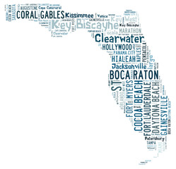 Word Cloud showing cities in Florida