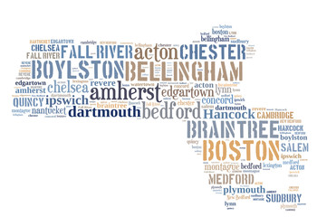 Word Cloud showing cities in Massachusetts