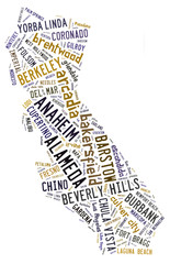 Word Cloud showing cities in California
