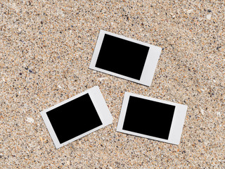 Blank Retro Instant Photos On Beach Sand In Summer