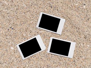 Blank Retro Instant Photos On Beach Sand In Summer