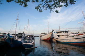 Boats on a traditional port in Makassar