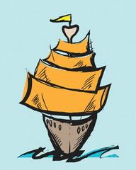 colorful cartoon sailing ship