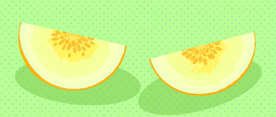 Two slices of juicy melon
