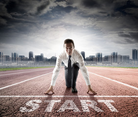 business start - businessman ready for competition