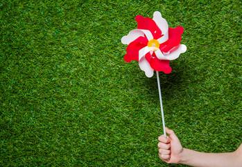 Human hand holding pinwheel over grass