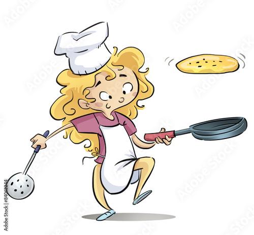 Ni a cocinando con sarten fotos de archivo e im genes - Nina cocinando ...