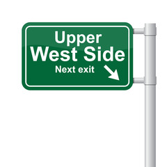 Upper West Side next exit green signal vector