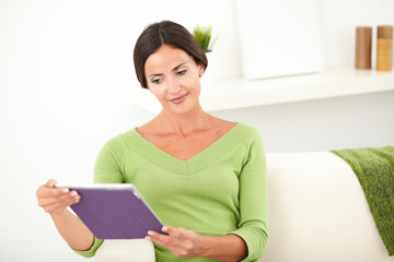 Young female looking at a tablet
