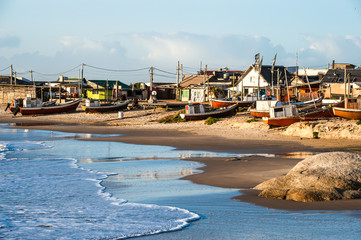 Poster South America Country Punta del Diablo, popular tourist site and Fisherman's place