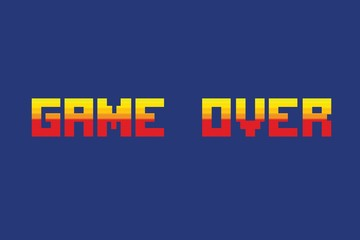 """Vector illustration of """"game over"""" in pixel art style"""