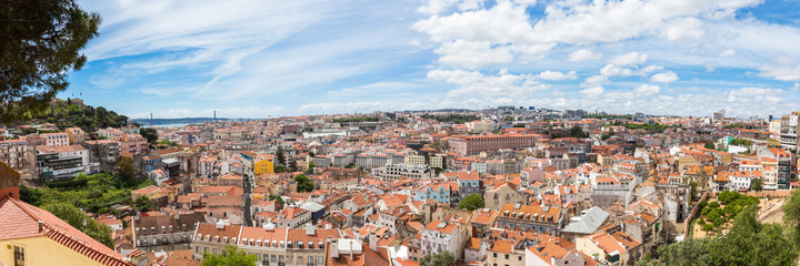 Panoramic view of Lisbon from Miradouro da Graca viewpoint  in L