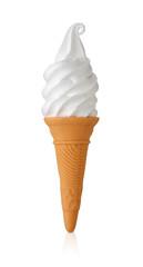 ソフトクリーム/バニラのソフトクリームで柔らかい影と映り込みが有り,クリッピングパスが有ります。