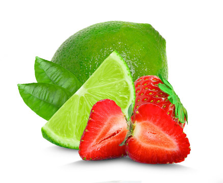 lime and strawberry isolated on white background