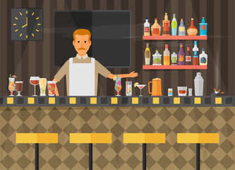 Bar counter with stools and alcohol drink on shelves flat vector