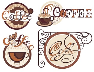Set of coffee labels for your design