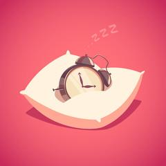 Sleeping alarm clock. Isolated object \ background.