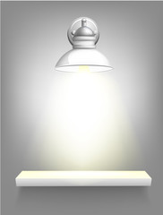 Old ilver lamp on gray wall with white shelf