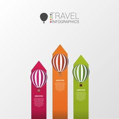 Hot air balloons. Infographic template. Vector