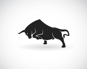 Vector of a bull on a white background. Animals.