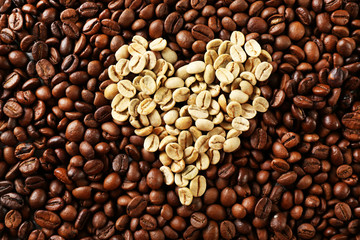 Coffee beans in shape of heart, closeup