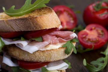 Delicious sandwich on rustic background