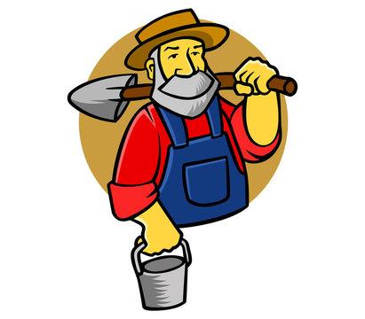 vector illustration of old farmer