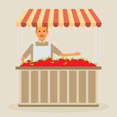 Produce shop keeper. Fruit and vegetables retail business owner