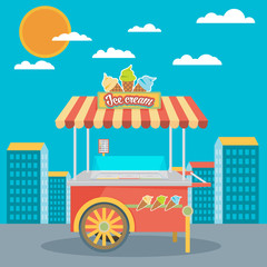 Shiny colorful ice cream cart vector illustration. Awesome creat