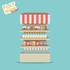 Supermarket. Flat vector