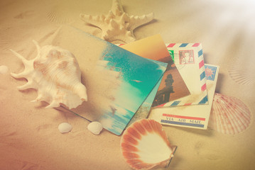vintage photo of letters and postcards from summer vacations