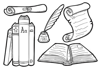 Old book and parchment in doodle style