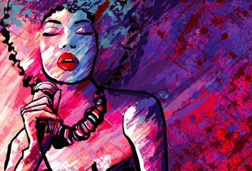 Poster de jardin Art Studio Jazz singer with microphone on grunge background