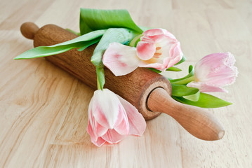 Rolling pin and tulips