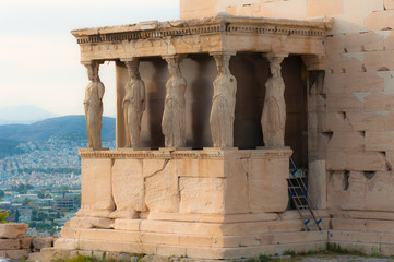 Caryatids on the Athenian Acropolis,Greece