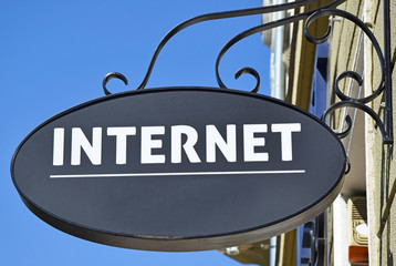 Internet sign on the wall of a building