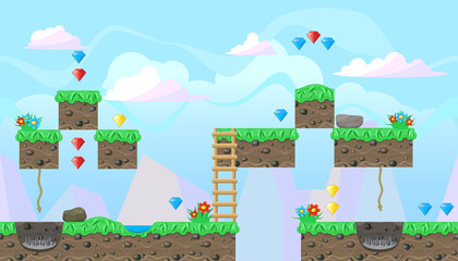 Seamless editable landscape for platform game design