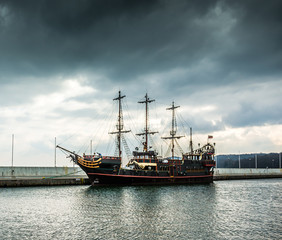 Pirate tourist ship in Sopot